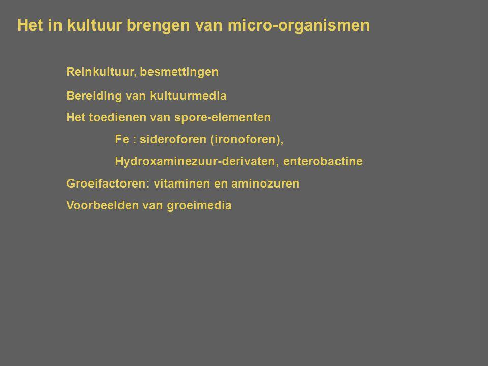 Het in kultuur brengen van micro-organismen Reinkultuur, besmettingen Bereiding van kultuurmedia Het toedienen van spore-elementen Fe : sideroforen (i