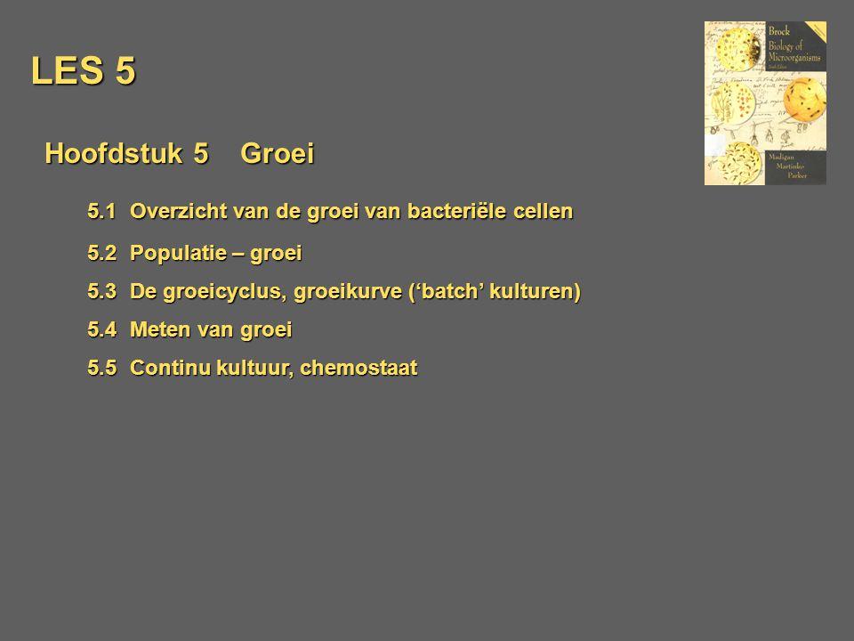 LES 5 Hoofdstuk 5 Groei 5.1Overzicht van de groei van bacteriële cellen 5.2 Populatie – groei 5.3De groeicyclus, groeikurve ('batch' kulturen) 5.4Mete
