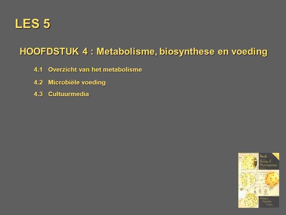 LES 5 HOOFDSTUK 4 : Metabolisme, biosynthese en voeding 4.1Overzicht van het metabolisme 4.2 Microbiële voeding 4.3Cultuurmedia