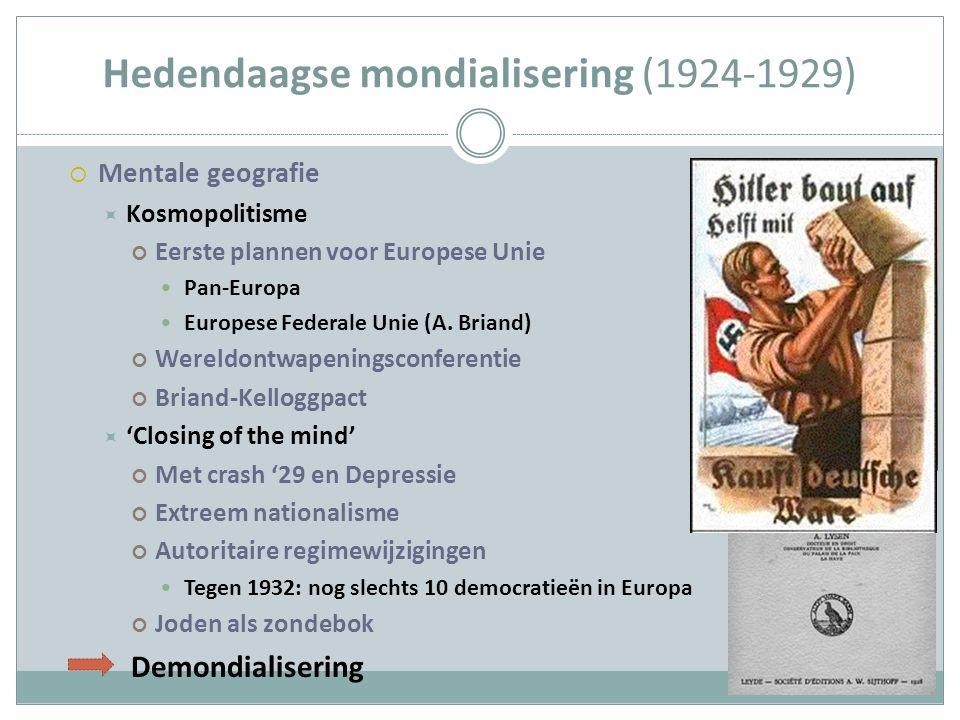 Hedendaagse mondialisering (1924-1929)  Mentale geografie  Kosmopolitisme Eerste plannen voor Europese Unie Pan-Europa Europese Federale Unie (A. Br