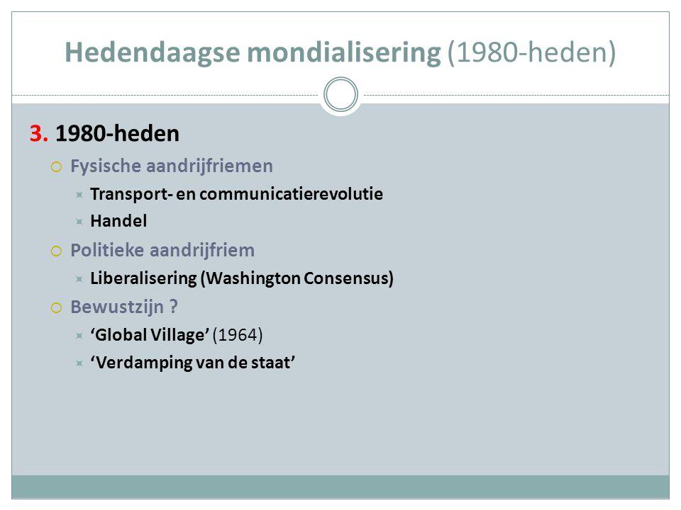 Hedendaagse mondialisering (1980-heden) 3. 1980-heden  Fysische aandrijfriemen  Transport- en communicatierevolutie  Handel  Politieke aandrijfrie