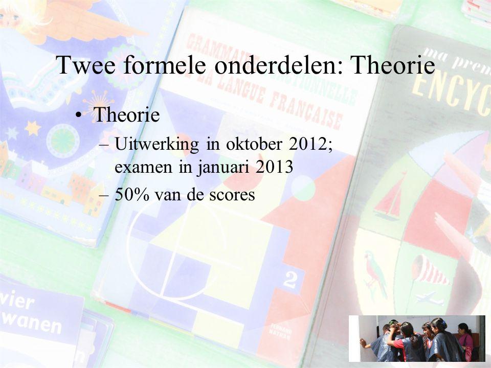 Twee formele onderdelen: Theorie Theorie –Uitwerking in oktober 2012; examen in januari 2013 –50% van de scores