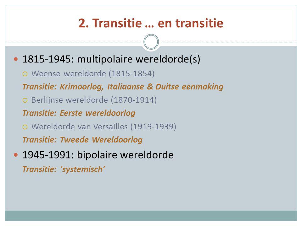 2. Transitie … en transitie 1815-1945: multipolaire wereldorde(s)  Weense wereldorde (1815-1854) Transitie: Krimoorlog, Italiaanse & Duitse eenmaking