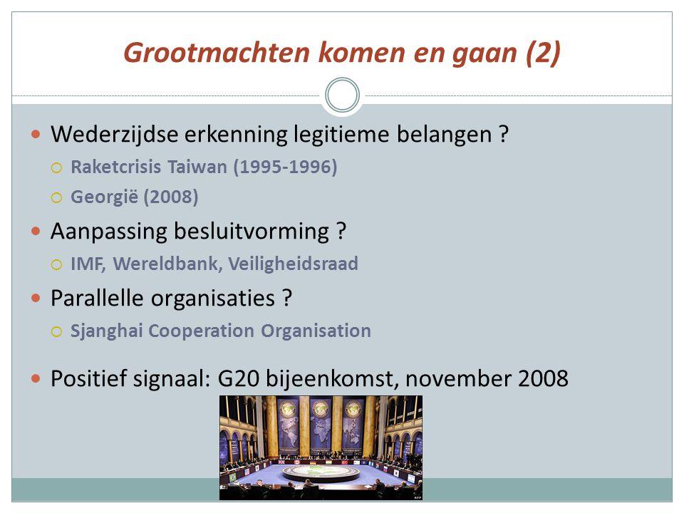 Grootmachten komen en gaan (2) Wederzijdse erkenning legitieme belangen ?  Raketcrisis Taiwan (1995-1996)  Georgië (2008) Aanpassing besluitvorming
