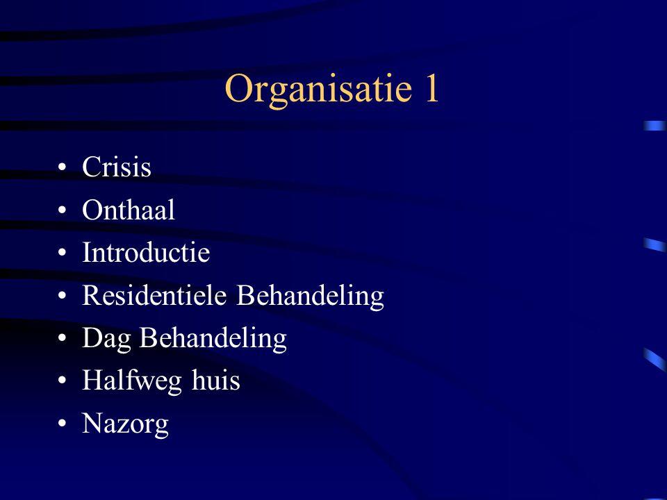 Organisatie 1 Crisis Onthaal Introductie Residentiele Behandeling Dag Behandeling Halfweg huis Nazorg