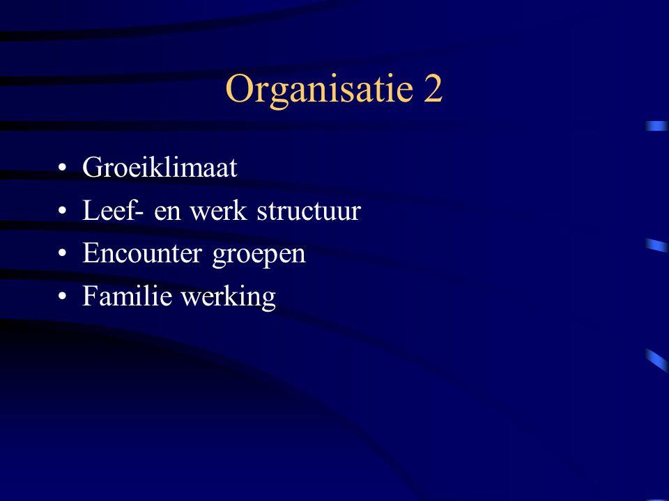 Organisatie 2 Groeiklimaat Leef- en werk structuur Encounter groepen Familie werking