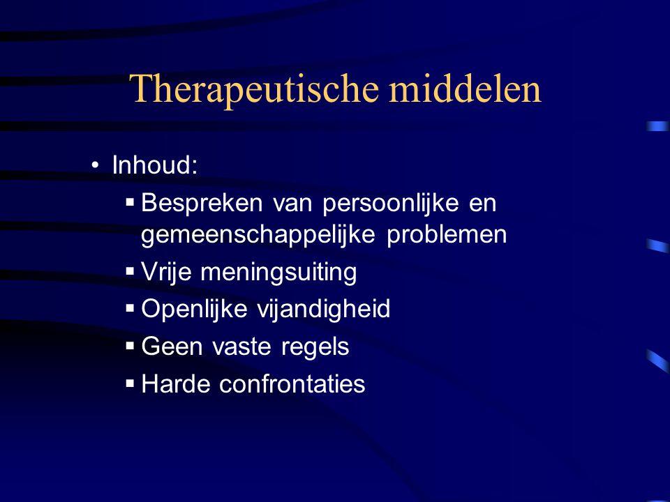 Therapeutische middelen Inhoud:  Bespreken van persoonlijke en gemeenschappelijke problemen  Vrije meningsuiting  Openlijke vijandigheid  Geen vaste regels  Harde confrontaties