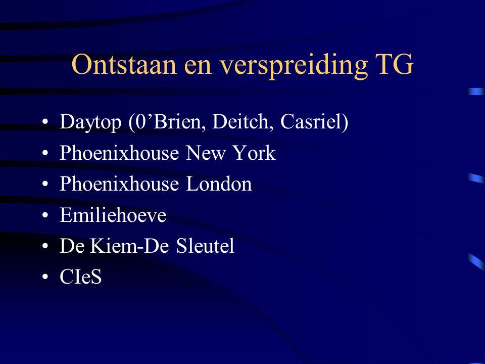 Ontstaan en verspreiding TG Daytop (0'Brien, Deitch, Casriel) Phoenixhouse New York Phoenixhouse London Emiliehoeve De Kiem-De Sleutel CIeS