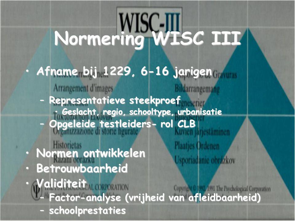 Normering WISC III Afname bij 1229, 6-16 jarigenAfname bij 1229, 6-16 jarigen –Representatieve steekproef Geslacht, regio, schooltype, urbanisatieGesl