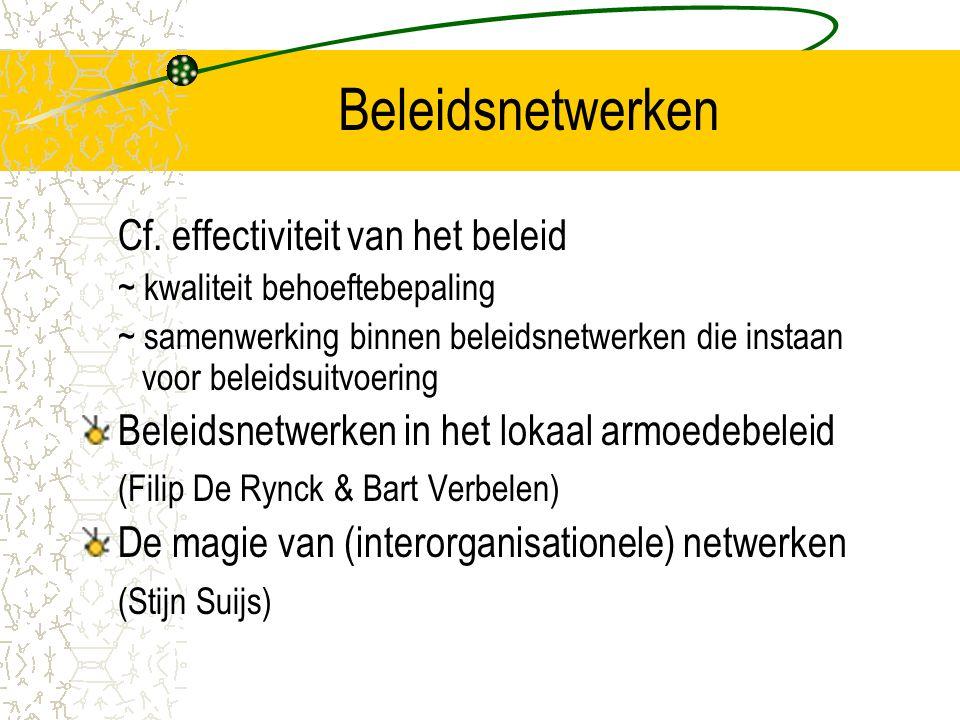 Analyse en evaluatie van netwerken (2) In kaart brengen van de arena en de actoren = omschrijving van de structuur van de arena, de aard van de actoren, de evolutie van de arena, de recente evoluties bij de verschillende actoren die voor een goed begrip van de organisatiedynamiek van de afzonderlijke actoren belangrijk zijn Het publiekrechtelijke en institutionele kader = inventaris van de wijzigingen in het kader De omgevingsfactoren macro: alg.