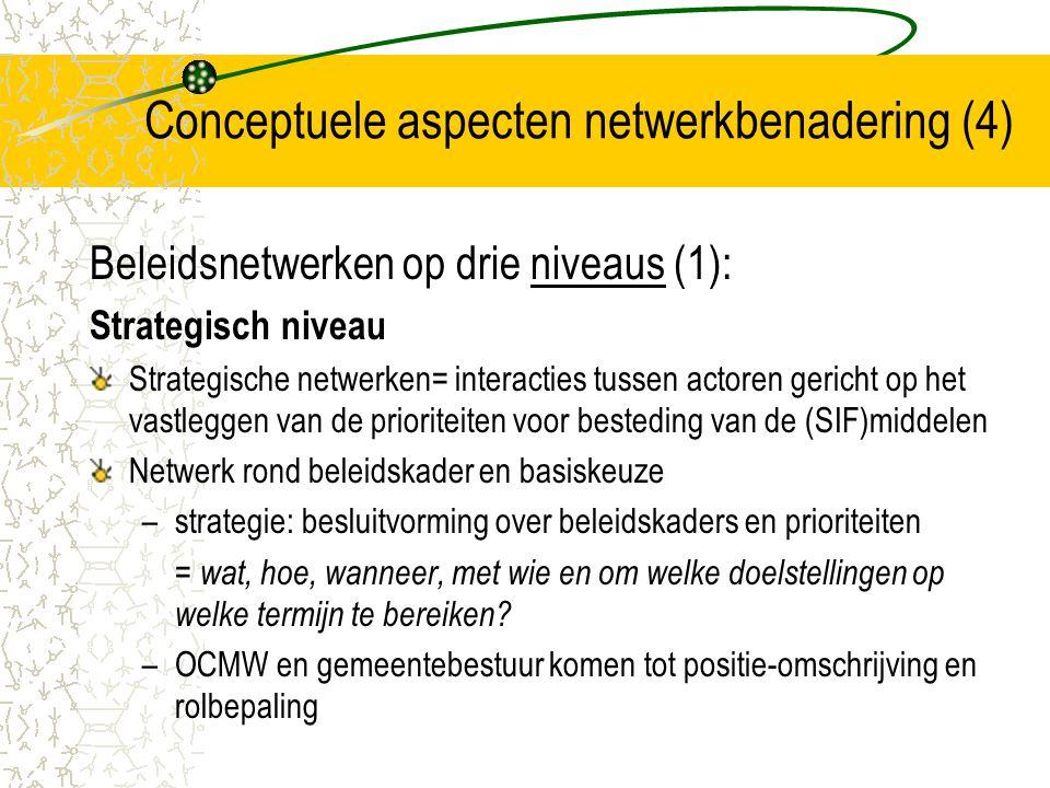 Conceptuele aspecten netwerkbenadering (5) Kwaliteitsvoorwaarden netwerkvorming op strategisch niveau: De onderbouw voor de besluitvorming (verantwoording) De interne coördinatie (zorg stevige interne coördinatie) De positie van de sleutelfiguren (gezagsvolle, herkenbare positie in eigen organisatie; duidelijke afspraken procedures besluitvorming) Overleg met externe actoren (externe actoren actief betrekken; breder draagvlak voor besluitvorming) Een publiek debat (brede publiek betrekken bij besluitvorming ) De evaluatie van de beleidsvoering (systematisch) De stuurgroep op strategisch niveau (goede communicatie tussen beleid en praktijk; tussen beleidsvorming en beleidsuitvoering; factoren: politieke stabiliteit, omgevingsdruk, invloed van personen)