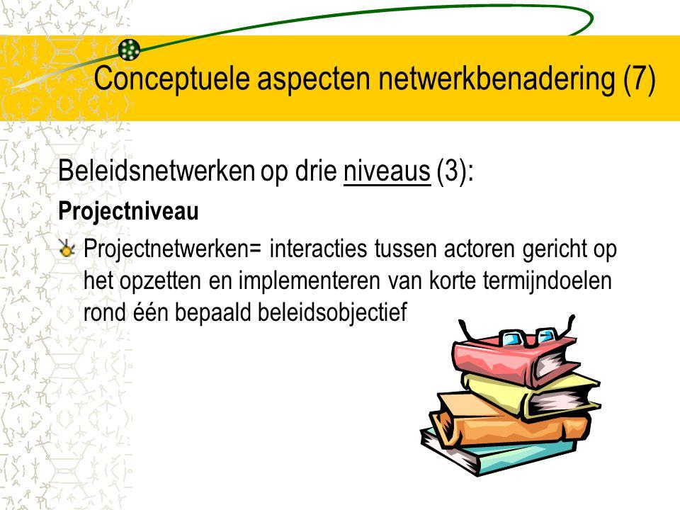 Conceptuele aspecten netwerkbenadering (8) Beleidsnetwerken op drie niveaus (4): Wisselwerking strategisch, programma en project-niveau niet gescheiden of hiërarchisch wel: drie niveaus van actie allemaal en samen nodig belang geschikte vaardigheden en persoonlijkheden (professionele sleutelfiguren)