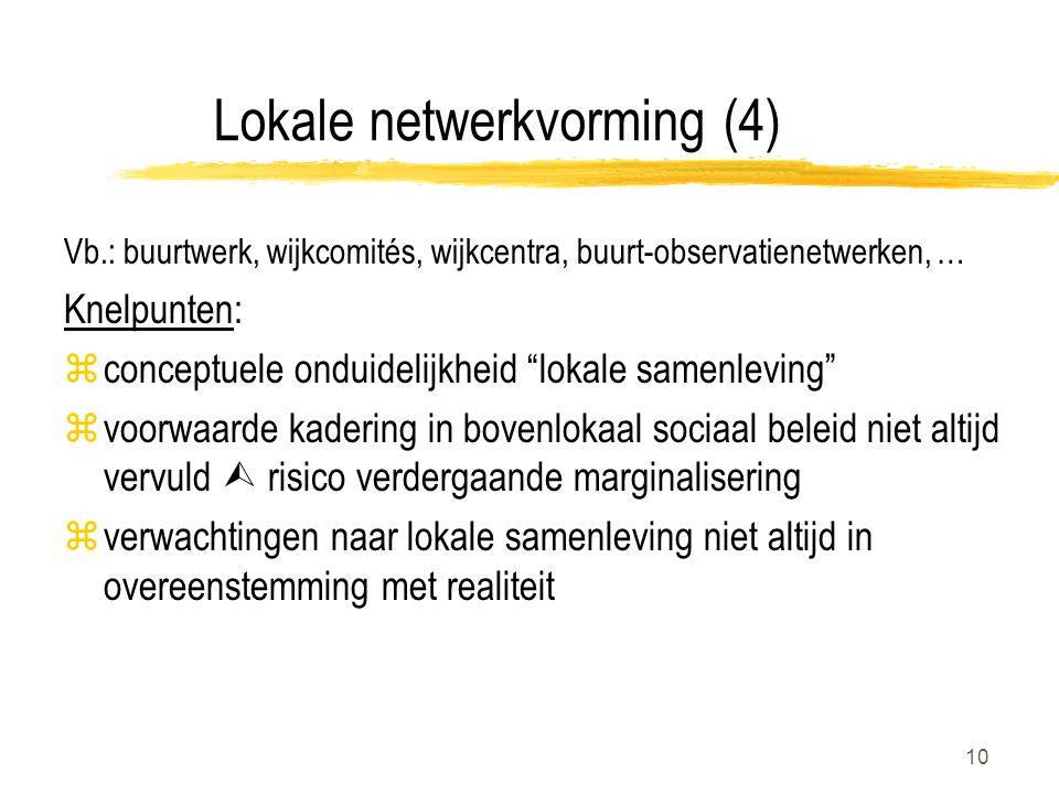 """10 Lokale netwerkvorming (4) Vb.: buurtwerk, wijkcomités, wijkcentra, buurt-observatienetwerken, … Knelpunten: zconceptuele onduidelijkheid """"lokale sa"""