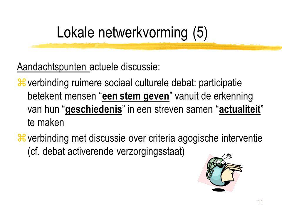 11 Lokale netwerkvorming (5) Aandachtspunten actuele discussie: zverbinding ruimere sociaal culturele debat: participatie betekent mensen een stem geven vanuit de erkenning van hun geschiedenis in een streven samen actualiteit te maken zverbinding met discussie over criteria agogische interventie (cf.