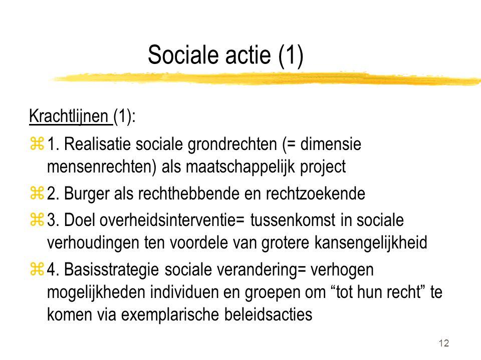 12 Sociale actie (1) Krachtlijnen (1): z1. Realisatie sociale grondrechten (= dimensie mensenrechten) als maatschappelijk project z2. Burger als recht