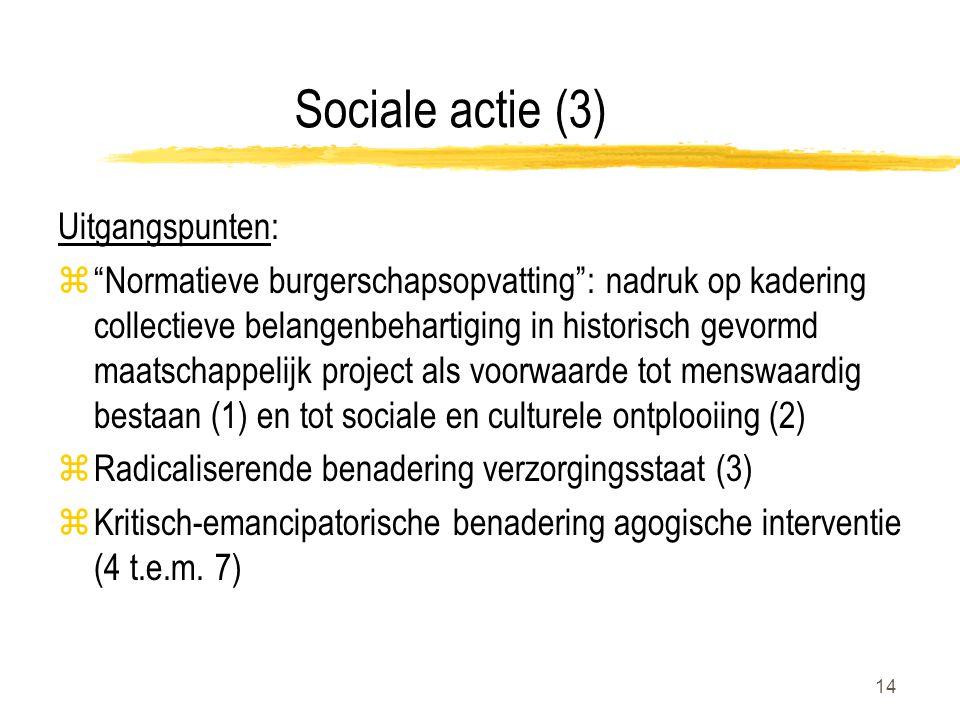 14 Sociale actie (3) Uitgangspunten: z Normatieve burgerschapsopvatting : nadruk op kadering collectieve belangenbehartiging in historisch gevormd maatschappelijk project als voorwaarde tot menswaardig bestaan (1) en tot sociale en culturele ontplooiing (2) zRadicaliserende benadering verzorgingsstaat (3) zKritisch-emancipatorische benadering agogische interventie (4 t.e.m.