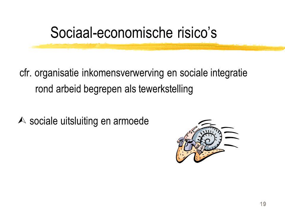 19 Sociaal-economische risico's cfr. organisatie inkomensverwerving en sociale integratie rond arbeid begrepen als tewerkstelling  sociale uitsluitin