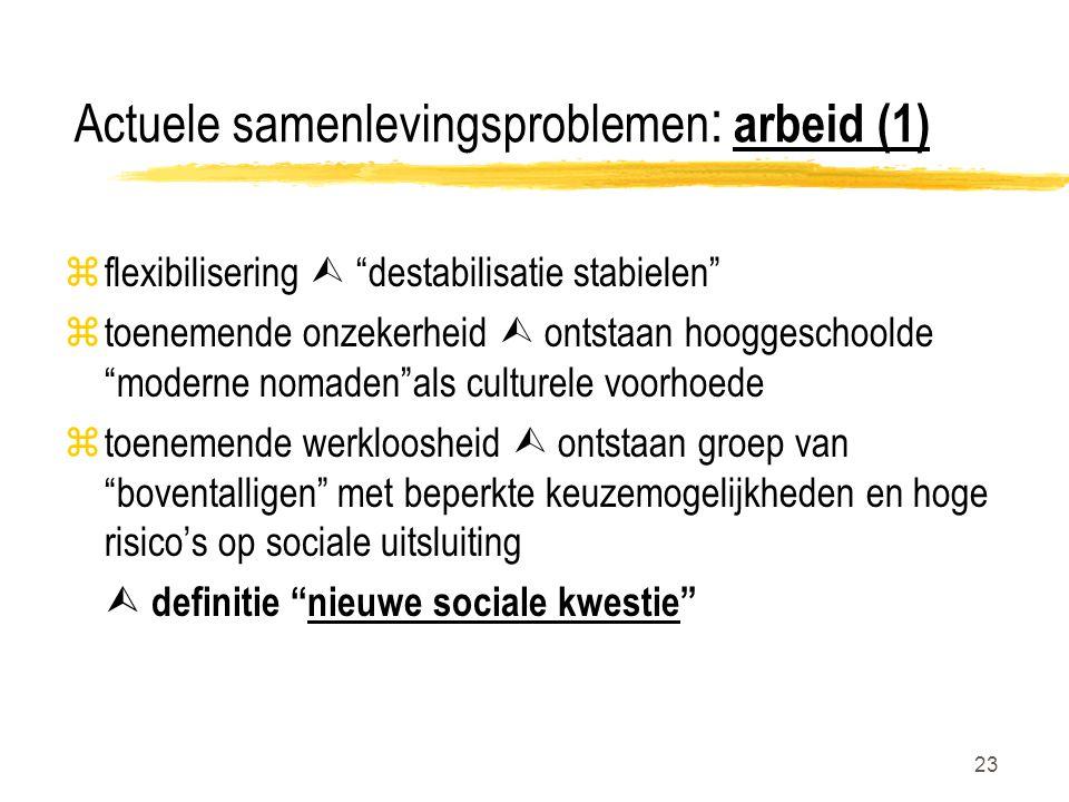 """23 Actuele samenlevingsproblemen : arbeid (1) zflexibilisering  """"destabilisatie stabielen"""" ztoenemende onzekerheid  ontstaan hooggeschoolde """"moderne"""