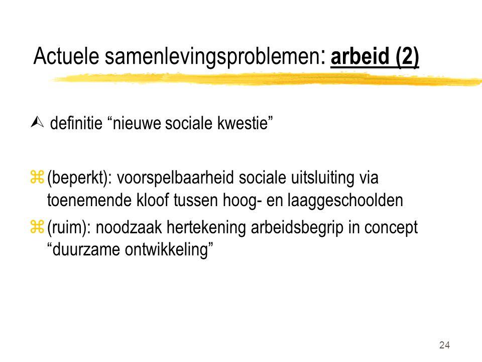 24 Actuele samenlevingsproblemen : arbeid (2)  definitie nieuwe sociale kwestie z(beperkt): voorspelbaarheid sociale uitsluiting via toenemende kloof tussen hoog- en laaggeschoolden z(ruim): noodzaak hertekening arbeidsbegrip in concept duurzame ontwikkeling