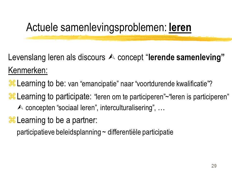 """29 Actuele samenlevingsproblemen: leren Levenslang leren als discours  concept """" lerende samenleving"""" Kenmerken: zLearning to be: van """"emancipatie"""" n"""