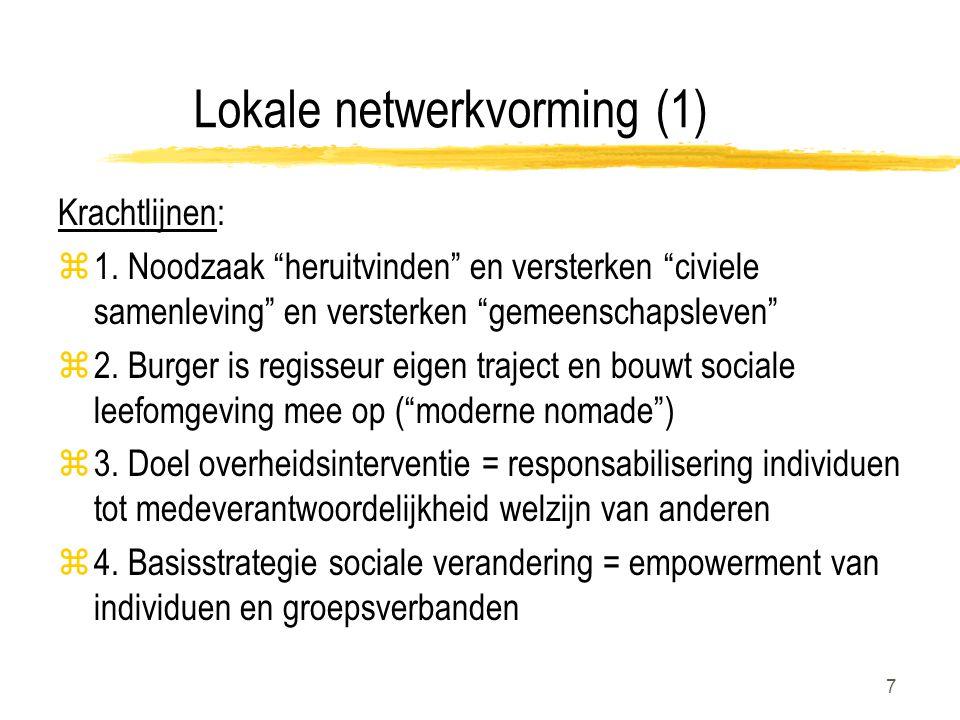 """7 Lokale netwerkvorming (1) Krachtlijnen: z1. Noodzaak """"heruitvinden"""" en versterken """"civiele samenleving"""" en versterken """"gemeenschapsleven"""" z2. Burger"""