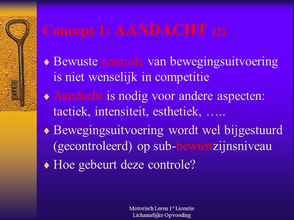 Motorisch Leren 1° Licentie Lichamelijke Opvoeding Concept 1: AANDACHT (2)  Bewuste controle van bewegingsuitvoering is niet wenselijk in competitie