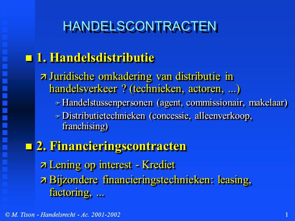 © M. Tison- Handelsrecht - Ac. 2001-20021 HANDELSCONTRACTEN 1. Handelsdistributie 1. Handelsdistributie  Juridische omkadering van distributie in han