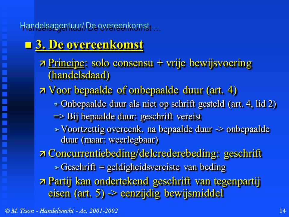 © M. Tison- Handelsrecht - Ac. 2001-200214 Handelsagentuur/ De overeenkomst … 3. De overeenkomst 3. De overeenkomst  Principe: solo consensu + vrije
