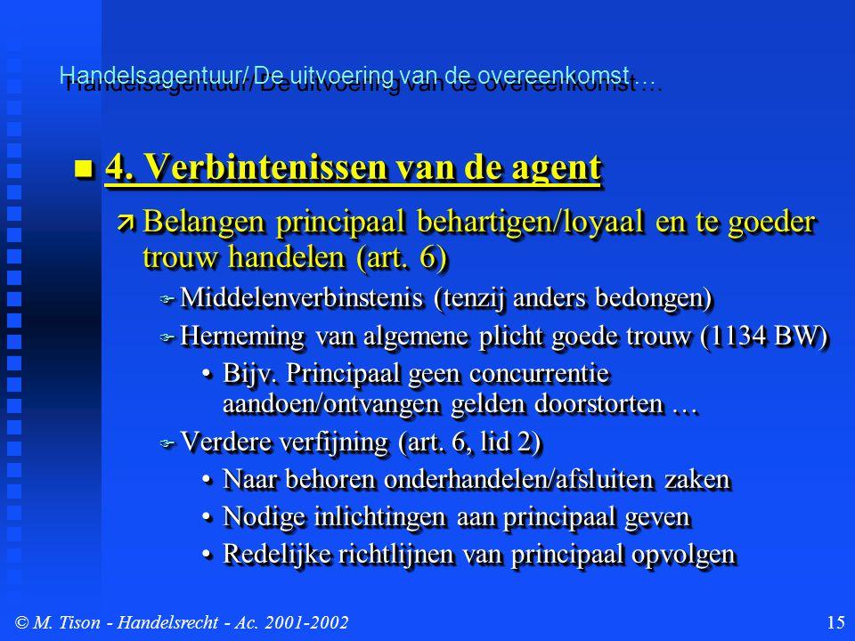 © M. Tison- Handelsrecht - Ac. 2001-200215 4. Verbintenissen van de agent 4. Verbintenissen van de agent  Belangen principaal behartigen/loyaal en te