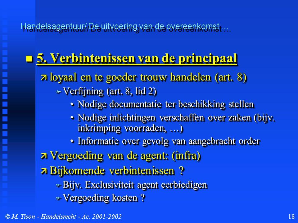 © M. Tison- Handelsrecht - Ac. 2001-200218 5. Verbintenissen van de principaal 5. Verbintenissen van de principaal  loyaal en te goeder trouw handele