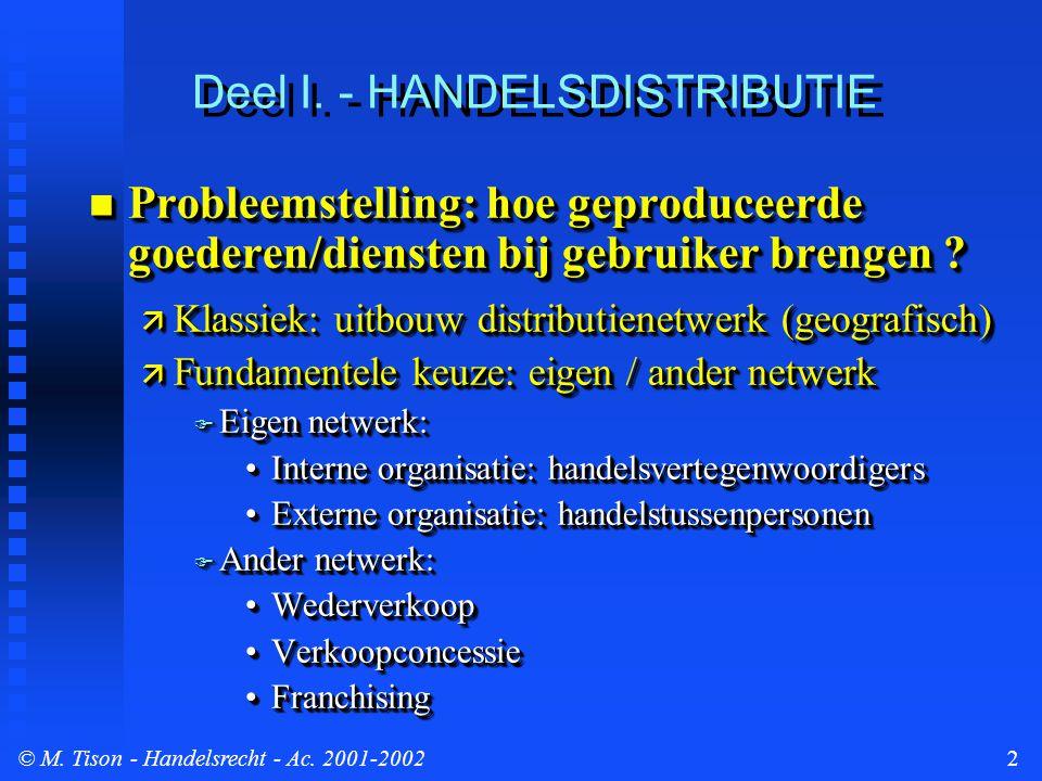 © M. Tison- Handelsrecht - Ac. 2001-20022 Deel I. - HANDELSDISTRIBUTIE Probleemstelling: hoe geproduceerde goederen/diensten bij gebruiker brengen ? P