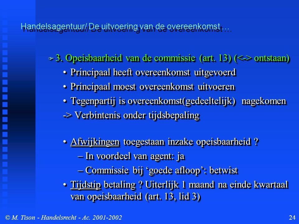 © M. Tison- Handelsrecht - Ac. 2001-200224  3. Opeisbaarheid van de commissie (art. 13) ( ontstaan) Principaal heeft overeenkomst uitgevoerdPrincipaa