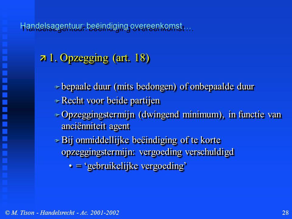 © M. Tison- Handelsrecht - Ac. 2001-200228  1. Opzegging (art. 18)  bepaale duur (mits bedongen) of onbepaalde duur  Recht voor beide partijen  Op
