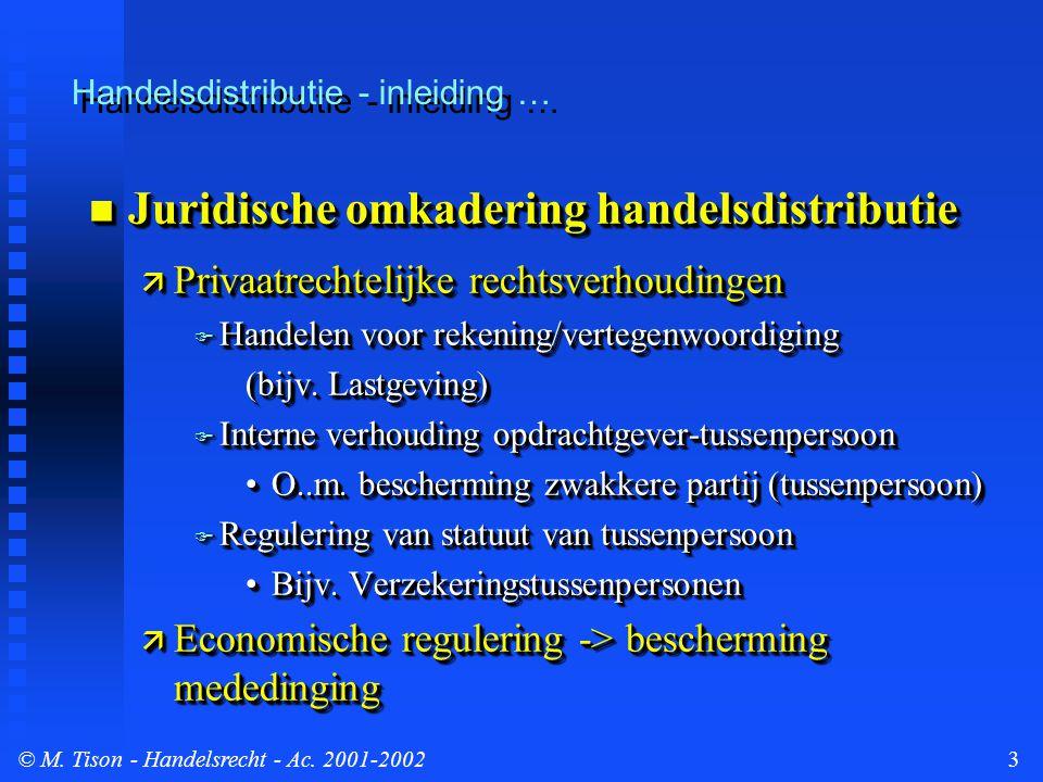 © M. Tison- Handelsrecht - Ac. 2001-20023 Handelsdistributie - inleiding … Juridische omkadering handelsdistributie Juridische omkadering handelsdistr