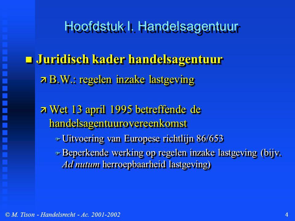 © M. Tison- Handelsrecht - Ac. 2001-20024 Hoofdstuk I. Handelsagentuur Juridisch kader handelsagentuur Juridisch kader handelsagentuur  B.W.: regelen