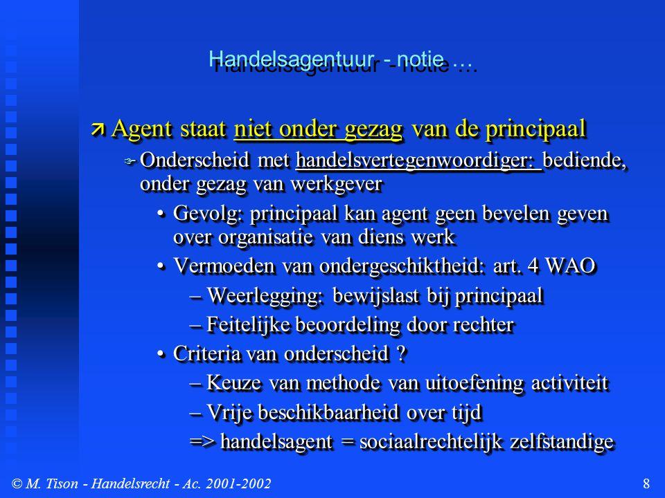 © M. Tison- Handelsrecht - Ac. 2001-20028 Handelsagentuur - notie …  Agent staat niet onder gezag van de principaal  Onderscheid met handelsvertegen