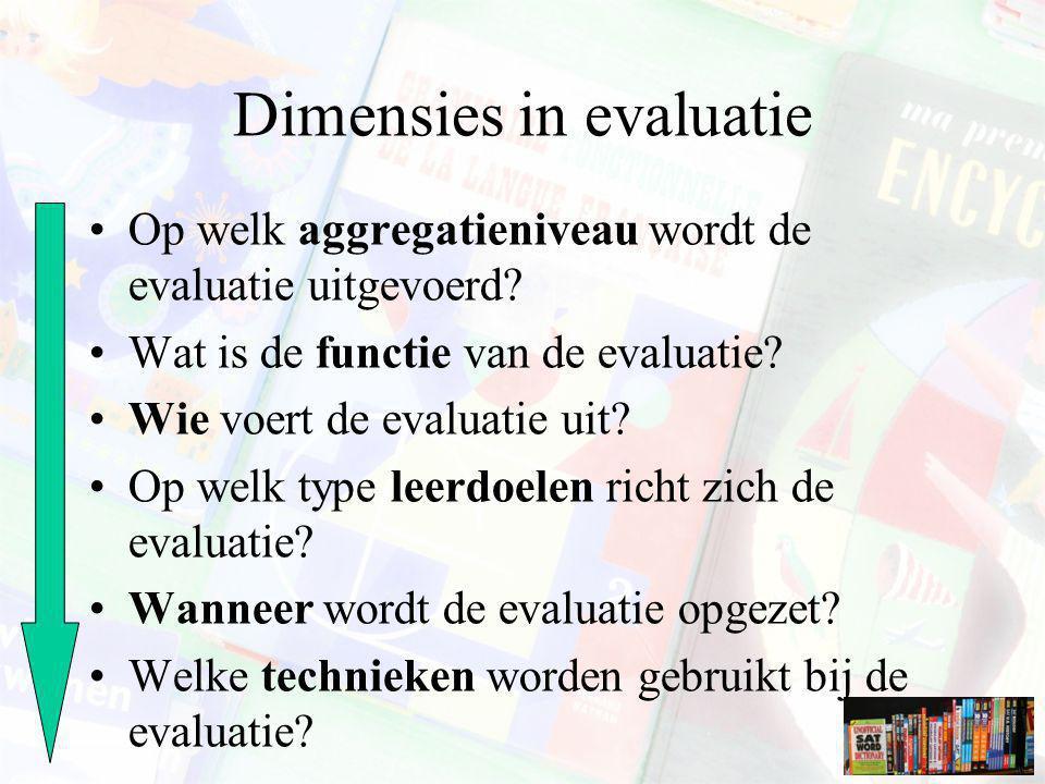 Dimensies in evaluatie Op welk aggregatieniveau wordt de evaluatie uitgevoerd? Wat is de functie van de evaluatie? Wie voert de evaluatie uit? Op welk
