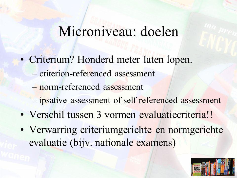 Microniveau: doelen Criterium? Honderd meter laten lopen. –criterion-referenced assessment –norm-referenced assessment –ipsative assessment of self-re