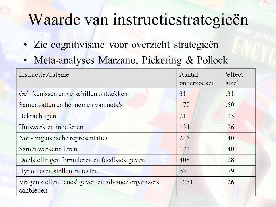 Waarde van instructiestrategieën Zie cognitivisme voor overzicht strategieën Meta-analyses Marzano, Pickering & Pollock InstructiestrategieAantal onde