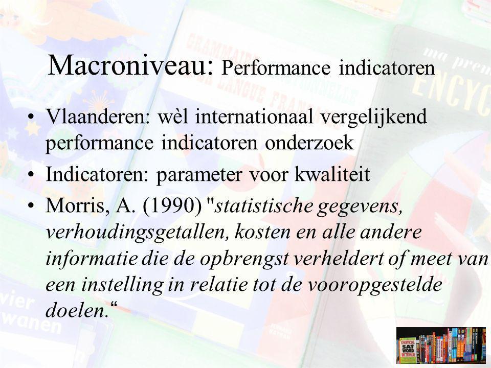 Macroniveau: Performance indicatoren Vlaanderen: wèl internationaal vergelijkend performance indicatoren onderzoek Indicatoren: parameter voor kwalite
