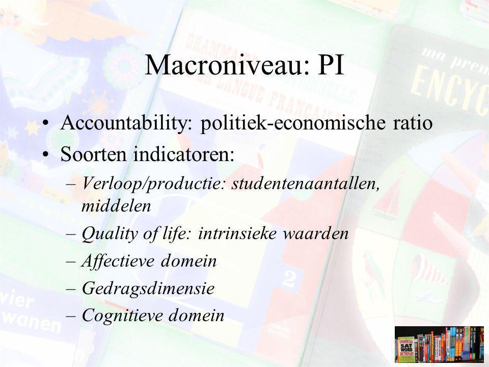 Macroniveau: PI Accountability: politiek-economische ratio Soorten indicatoren: –Verloop/productie: studentenaantallen, middelen –Quality of life: int