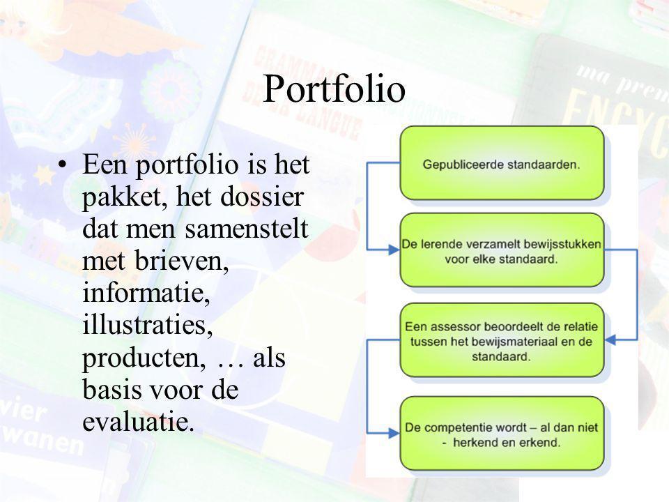 Portfolio Een portfolio is het pakket, het dossier dat men samenstelt met brieven, informatie, illustraties, producten, … als basis voor de evaluatie.