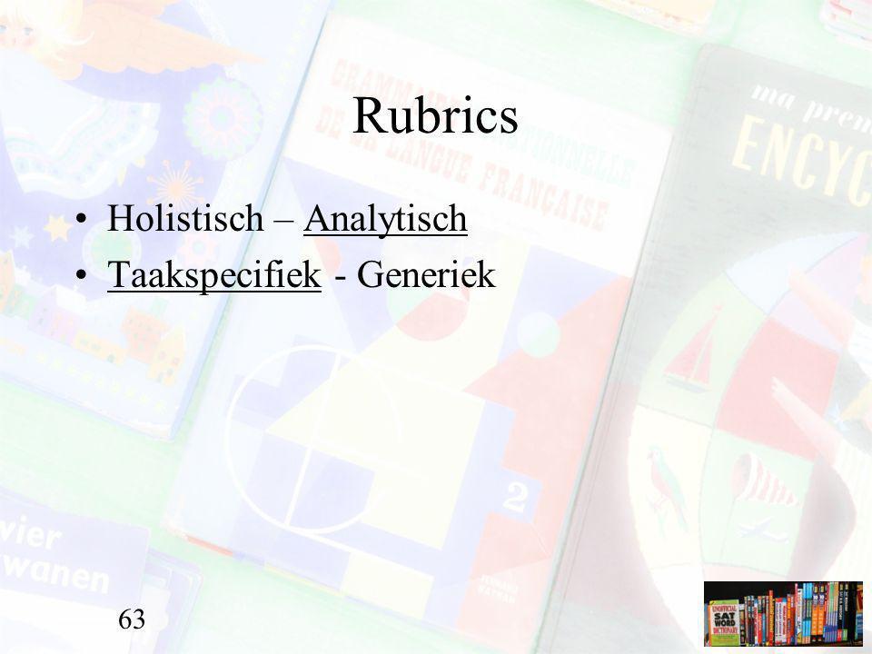 Rubrics Holistisch – Analytisch Taakspecifiek - Generiek 63