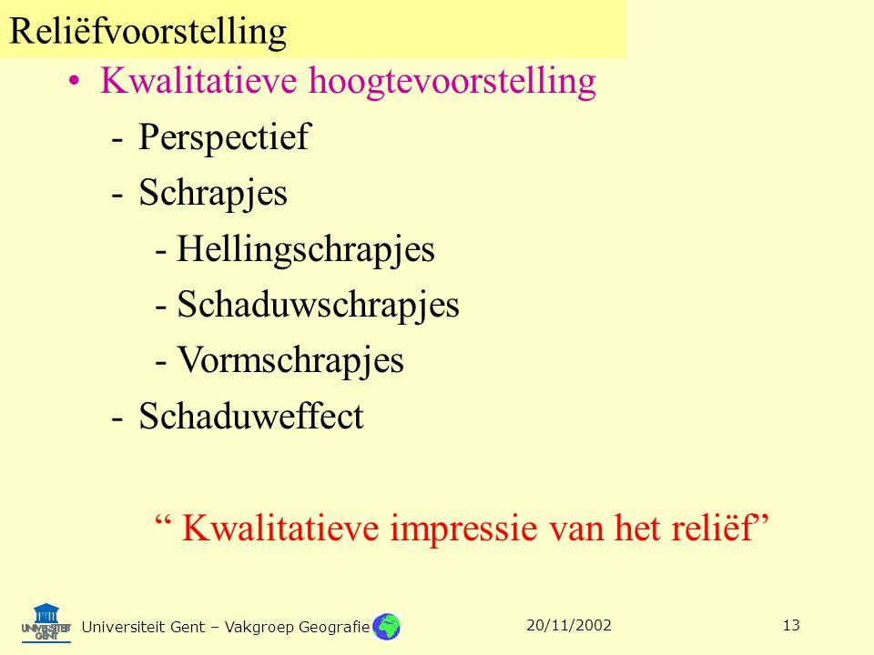 Reliëfvoorstelling Universiteit Gent – Vakgroep Geografie 20/11/200213 Kwalitatieve hoogtevoorstelling -Perspectief -Schrapjes -Hellingschrapjes -Scha