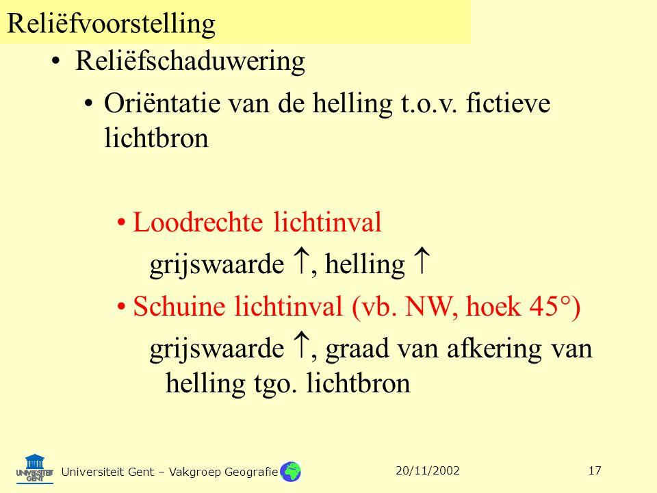 Reliëfvoorstelling Universiteit Gent – Vakgroep Geografie 20/11/200217 Reliëfschaduwering Oriëntatie van de helling t.o.v. fictieve lichtbron Loodrech