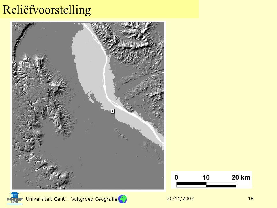 Reliëfvoorstelling Universiteit Gent – Vakgroep Geografie 20/11/200218