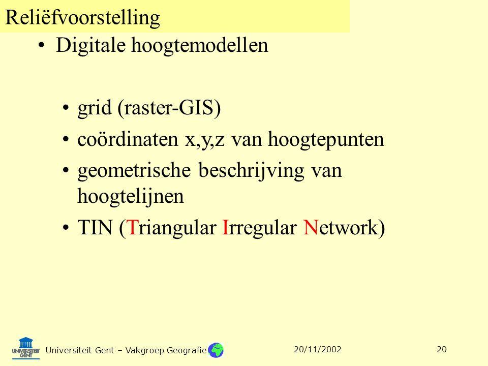 Reliëfvoorstelling Universiteit Gent – Vakgroep Geografie 20/11/200220 Digitale hoogtemodellen grid (raster-GIS) coördinaten x,y,z van hoogtepunten ge