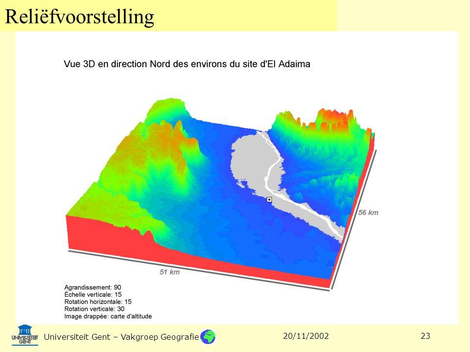 Reliëfvoorstelling Universiteit Gent – Vakgroep Geografie 20/11/200223