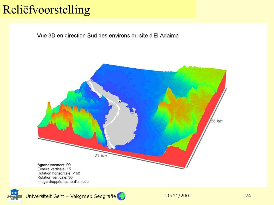 Reliëfvoorstelling Universiteit Gent – Vakgroep Geografie 20/11/200224