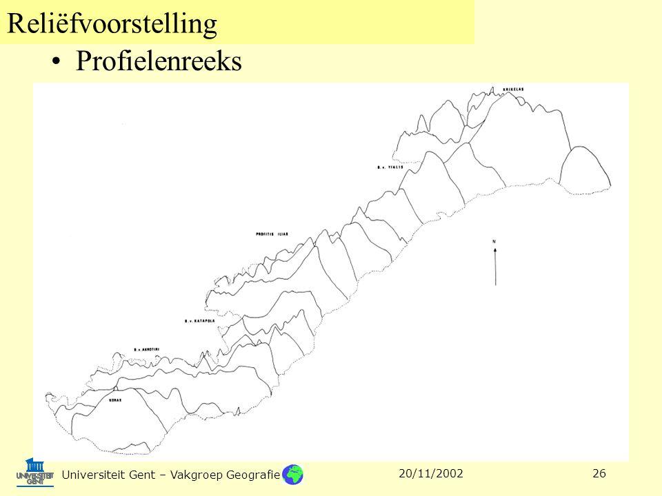 Reliëfvoorstelling Universiteit Gent – Vakgroep Geografie 20/11/200226 Profielenreeks